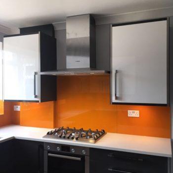 orange glass splashback